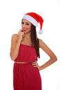 Girl with santa claus hat Stock Photo