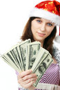 Girl Santa Claus offers money Royalty Free Stock Photography