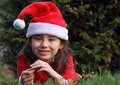 Girl with Santa hat Royalty Free Stock Images