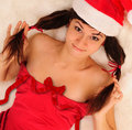 Girl in Santa hat. Stock Image