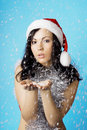 Girl santa, with snow Royalty Free Stock Photo