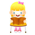The girl sat down on the chair is reading a book on the desk e education and life character design series Stock Image