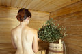 Girl in the sauna Royalty Free Stock Photo