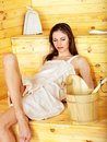 Girl in sauna. Royalty Free Stock Image