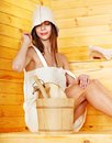 Girl in sauna. Royalty Free Stock Images