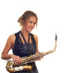 Girl with a saxophone Royalty Free Stock Image