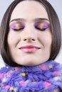 Girl in scarf with colorful makeup Royalty Free Stock Photos