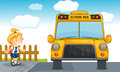 Girl and school bus Royalty Free Stock Photos