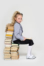 Girl schoolgirl sitting Royalty Free Stock Image
