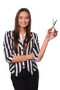 Girl with scissor young in jacket Royalty Free Stock Image