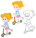 Girl scooterist little riding on a scooter three versions of the illustration Stock Photo