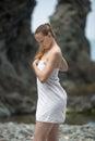 Girl at the sea Royalty Free Stock Photo