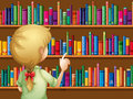A girl selecting books illustration of Royalty Free Stock Image