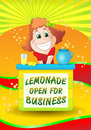 Girl sell cold drink illustration of lemonade on fancy fresh background Royalty Free Stock Photos