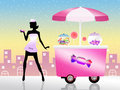 Girl selling candy illustration of cart of Royalty Free Stock Images