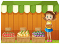 A girl selling different fruits illustration of on white background Stock Images