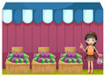 A girl selling grapes illustration of on white background Stock Photos