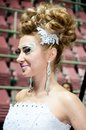 Girl semi finalist for hairdressing city of orenburg southern ural russia Royalty Free Stock Images