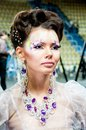 Girl semi finalist for hairdressing city of orenburg southern ural russia Stock Images