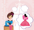 Girl with sewing machine dreams of a beautiful dress illustration Royalty Free Stock Photo