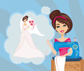 Girl with sewing machine dreams of a beautiful wedding dress Royalty Free Stock Images