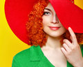 Girl in shady hat attractive red haired red shot closeup Royalty Free Stock Photo
