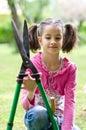 girl with shears gardener Royalty Free Stock Photo