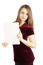 Girl with sheet of paper woman holding a white Stock Image