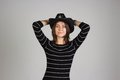 Girl in a sheriff hat Royalty Free Stock Photo