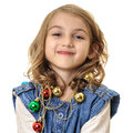 Girl with shiny christmas decorations portrait little beautiful magical around her neck isolated on white Stock Photography