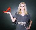 Girl and shoe. Royalty Free Stock Photo