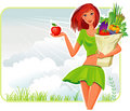 Girl with a shopping bag Royalty Free Stock Photo