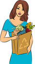 Girl with a shopping bag Stock Photos