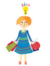 Girl shopping with idea light bulb illustration Royalty Free Stock Photos