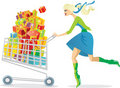 Girl on a shopping spree Royalty Free Stock Photo