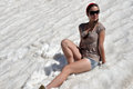 girl in shorts in the snow Royalty Free Stock Photo