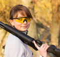 Girl with a shotgun Royalty Free Stock Image