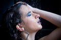 Girl in the shower with water drops set Stock Photo