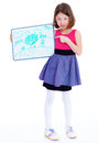 Girl showing her drawing Royalty Free Stock Photo