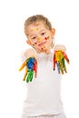 Girl showing messy colorful hands isolated on white background Royalty Free Stock Photos