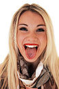 Girl showing pierced tongue a very happy young woman her smiling for white background in closeup Stock Photo