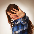 Girl showing impotence hand sign gesture (Body language, gesture