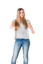 Girl showing thumb up teen on an isolated background Stock Photo