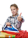 Girl showing thumbs up around ironing board and iron isolated Royalty Free Stock Photo