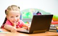 Girl shows thumb laptop Stock Images