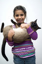Girl with siamese cat Royalty Free Stock Image