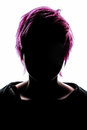 Girl silhouette fashion hair pink Royalty Free Stock Photo