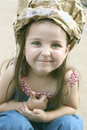 Girl in Silly Hat Royalty Free Stock Photo