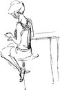 Girl sits on a high chair in a cafe sketch Royalty Free Stock Photos