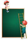 A girl sitting above the empty board and a girl climbing the lad illustration of ladder on white background Royalty Free Stock Image